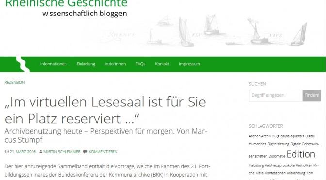 Neues Gemeinschaftsblog: Rheinische Geschichte wissenschaftlich bloggen