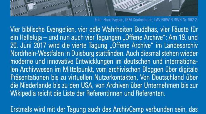 Es darf geflyert werden! Offene Archive 2017 + ArchivCamp